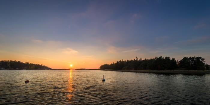 Kappelisatama, Hanko, Finland. Sunset in Autumn 2015. Hotel Villa Maija.